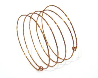 Copper Spiral Bangle - Twist or Round - Coiled Wire Bangle