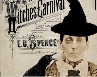 Vintage Halloween Witches Carnival Portrait Printable Digital Download
