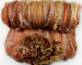 Copper Topaz Wild Card Bling Batt for spinning and felting (4.7 ounces), batt, art batt