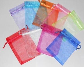 18 pochettes organza couleurs unies mixées LOT4 mesures 9 x 11 cm cadeaux