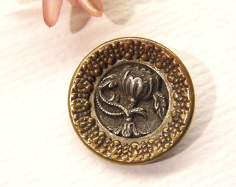 "Antique Button, Gold and Silver Metal FLOWER, Heart Border, 11/16"", ANIMAL Charity Donation"