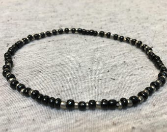 Ankle Bracelet, Stretchy Anklet, Beaded Ankle Bracelet, Black and Silver, Beaded Jewelry, Unique Jewelry, Womens Jewelry, Hnadmade Jewelry