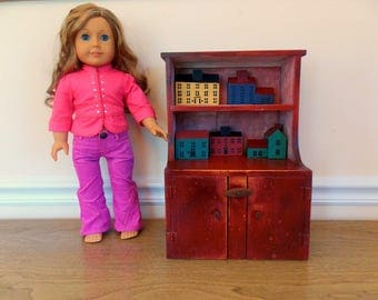 Vintage Doll Furniture, Doll Cupboard, Wood Doll Furniture, Doll Hutch, Storage Cabinet, Large Doll Furniture, Handmade Doll Furniture