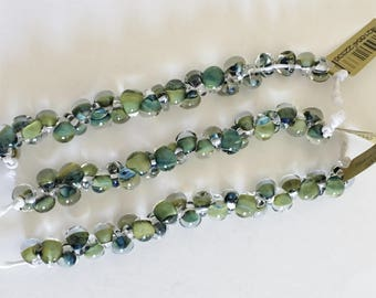 Olive Green Mini Boro Teardrop Beads, Made by Unicorne Beads, 25 Beads Per Strand