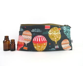 Large Essential Oil Case - Hot Air Balloon - 22 bottles - independent artist spoonflower cosmetic bag zipper pouch essential oil bag