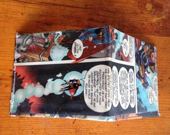 SALE Superman comic book vinyl wallet. Super hero. Clark Kent. Handmade from vintage comic books. DC comics.