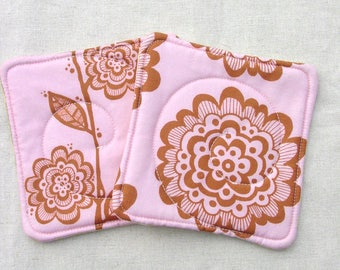 Spoonflower Coaster Set - Mug Mats - Pink Brown Floral Vine Flower