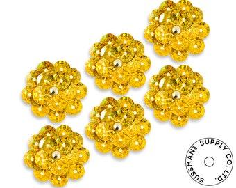 Applique - Vintage Hologram Sequins Flower Applique - Gold (6pcs)