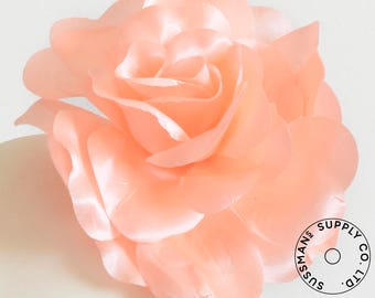 "Millinery Flower - Beth Super Sheen Neon Flower - Peach - 4.5"" (1pc)"