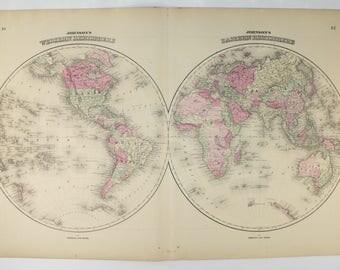 Antique world map western hemisphere eastern hemisphere map 1864 johnson world map antique map of the world eastern hemisphere map western gumiabroncs Gallery