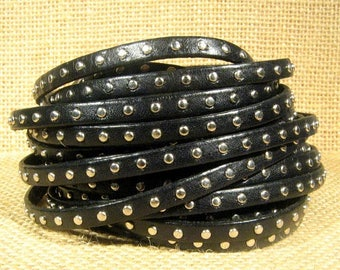 Summer Sale - 25% off 5mm Flat Studded Leather  - Black - SL5-1 - Choose Your Length