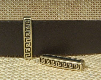 Greek Border Sliders for 20mm Flat Leather - Antique Brass - SP147 - Choose Your Quantity