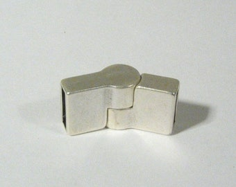 25% Off Hinged Magnetic Clasps for 10mm Flat Leather - Antique Silver - 10FCL-N1134-AS - Choose Your Quantity