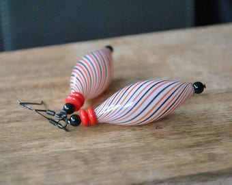 SALE ELongated Striped Earrings, Red, White & Black Earrings, Hollow Blown Glass, Light Weight Earrings,