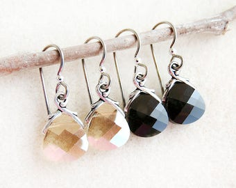 Swarovski Crystal, Drop Earrings, Non-allergenic, Niobium Earwires, Golden Shadow, Jet Black, Silver, Gold, Black, Handmade, Gift for Her