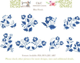 Blue Florals - Set of 8 Embroidery Designs - Instant Download - 4x4 & 5x7 Hoop