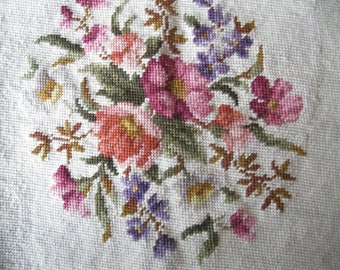 Floral  Needlepoint on Canvas, Hand Stitched, Pillow Cover, Chair Cover, Needlework, by mailordervintage on etsy