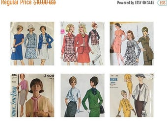 End of May Sale Vintage Sewing 6 Pattern Lot 1960s 70s | Vogue 6162 | Advance 3409 | Simplicity 9013 7794 | McCalls 7625 | Bust 36 | Dresses