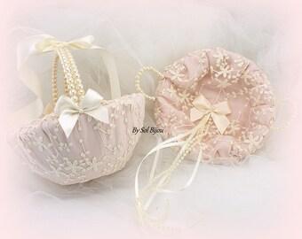 Flower Girl Basket,Ring Tray, Ivory Bows,Rose,Blush,Alternative Pillow,Wedding Tray,Wedding Basket,Lace Tray,Pearls,Vintage Style, Gatsby