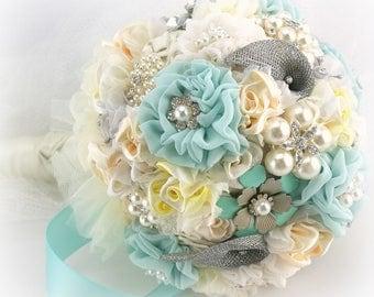 Brooch Bouquet,Seafoam,Blue,Yellow,Aqua,Broach Bouquet,Wedding Bouquet,Pearl Bouquet,Bridal Bouquet,Jeweled Bouquet,Elegant Wedding, Vintage
