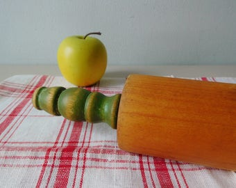 Vintage wood rolling pin 1940s rolling pin green paint cottage style