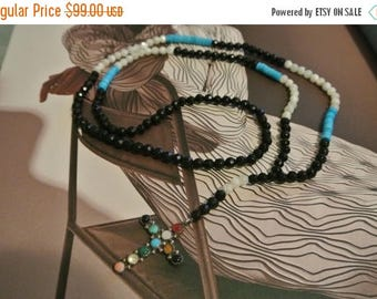 SALE 80% OFF CLEARANCE Sterling Silver Cross Beaded Necklace /  Mother Of Pearl / Turquoise / Cystal Beaded / Chic Layering Necklace, Celebr