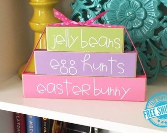 Easter Stackers- Easter Decor, Spring Decor, Easter Wood Sign, Easter Wood Blocks, Spring Wood Blocks, Wood Easter Sign, Wood Spring Sign