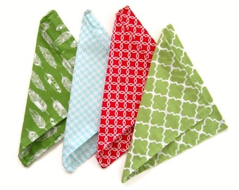 Kids Cloth Napkins, Cotton Reversible Napkins, Set of 4, Double Sided Lunchbox Napkins,  Reusable, Washable