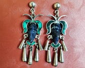 Jose Marmolejo Tribal Warrior Mask Earrings, Taxco, Signature Maestro JMS, 925 Silver, Malachite, Sodalite, Hand Carved Face, Aztec, Mayan
