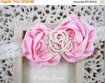 Pink Flower Headband, Satin Rosette Duo w/ Large Pearl and Crystal Rose Ivory Lace Headband, Baby Toddler Child Girls Headband