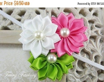 Satin Flower Headband - White, Hot Pink and Lime Green Satin Flower Trio with Pearls Stretchy Headband - The Emily - Baby Toddler Girl