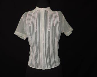 1950s pink blouse sheer pleated floral appliqué button down dress shirt medium