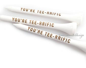 You're Tee-rrific Golf Tee #1 Dad Fathers Day Gift From Kids Best Dad Ever Dad For Golfer Wood Engraved