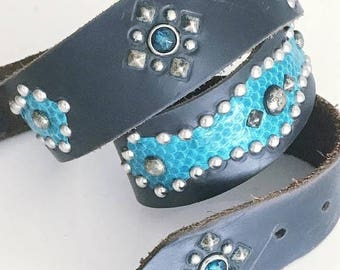 40% OFF Christmas in July Bad Ass Vintage Leather Studded and Inlaid Motorcycle Belt -- 50's Style -- Rockabilly