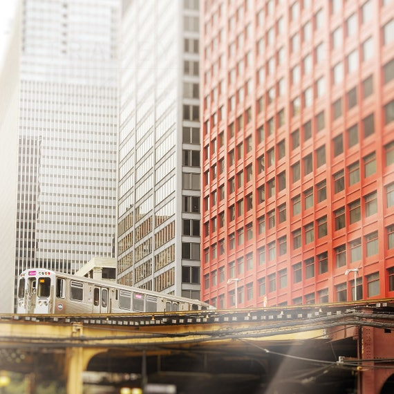 Chicago Photograph, CTA El Train, Chicago Skyline, Abstract Print - red wall art, gray home decor, Pink Line, Office Walls, Chicago Trains