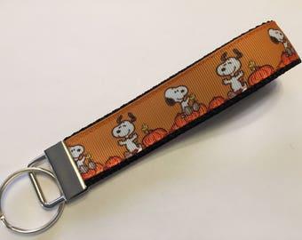 The Great Pumpkin Orange Snoopy Key Fob Keychain wristlet