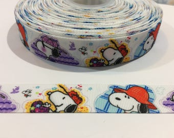 3 Yards of Ribbon - Snoopy in Hats 7/8 Inch Wide