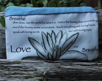 Organic Breathe and Love zipper Pouch/organic makeup pouch
