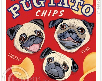 11x14 Pug Art - Pugtato Chips - You can't have just one! - Art print by Krista Brooks