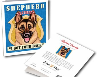 """German Shepherd Cards """"I Got Your Back"""" 6 Small Greeting Cards by Krista Brooks"""