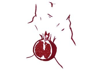 minimalist ink print: Gender Pomegranate