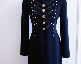 30% OFF CLEARANCE VTG 1980's Military Style Formation BodyCon Dress / Balmain-style Long Sleeved Ribbed 80's Dress / Size 6-8
