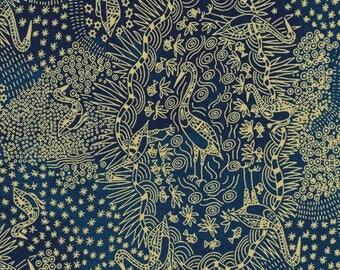 M & S Textiles - Aboriginal - Brolga Life Blue by Nambooka - Fabric by the Yard BLBL