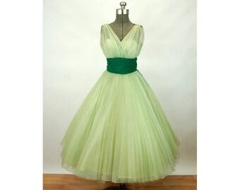 1950s party dress prom dress bridesmaid dance dress chiffon full skirt illusion bodice Fred Perlberg Size S