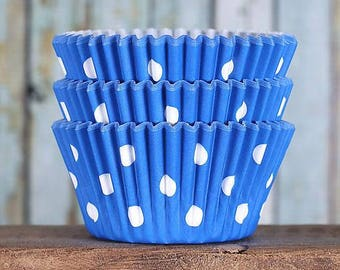 Royal Blue Polka Dot Cupcake Liners, BakeBright Cupcake Liners, Blue Cupcake Liners, Blue Baking Cups, Cupcake Cases, Cupcake Wrappers (50)
