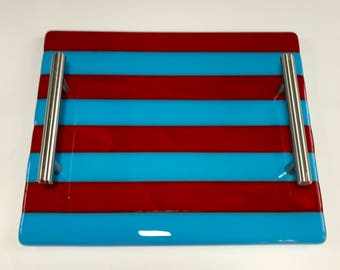 Blue and Red Stripe Glass Serving Tray