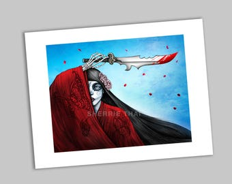Day of the Dead Geisha Samurai Beauty with Sword, Revenge of Madame Butterfly, Asian Girl Art Print, Sale