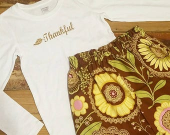 Thanksgiving Outfit- Thankful-Baby Toddler Girls Skirt Set- Gold -Vintage Brown Floral High Waist Skirt and Top