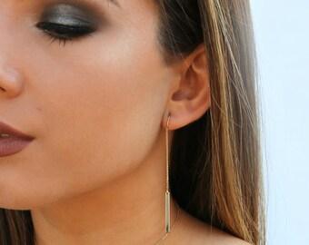Bar Threader Earrings, Dangling Gold Bar Ear Threads, 14kt Gold Filled, Sterling Silver