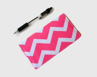 Pink Chevron Checkbook Cover - Coupon Holder - Pink Checkbook Holder - Purse Accessory Organizer - Womens Checkbook